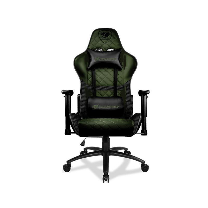 Picture of Cougar Gaming Chair Armor One X, Steel-Frame, Breathable PVC Leather, 180° Recliner System, 120Kg Weight Capacity, 2D Adjustable Arm-Rest, Steel 5-Star Base - Military Green